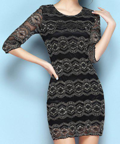 Discount Vintage Scoop Neck Half Sleeves Lace Dress For Women