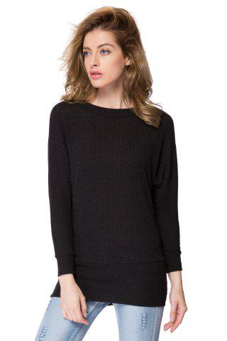Trendy Simple Scoop Neck Long Batwing Sleeve Solid Color Slimming Knitted Women's Dress - L BLACK Mobile