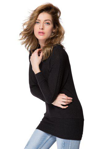 Unique Simple Scoop Neck Long Batwing Sleeve Solid Color Slimming Knitted Women's Dress - L BLACK Mobile