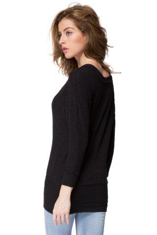Fashion Simple Scoop Neck Long Batwing Sleeve Solid Color Slimming Knitted Women's Dress - L BLACK Mobile
