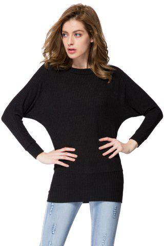 Shop Simple Scoop Neck Long Batwing Sleeve Solid Color Slimming Knitted Women's Dress - L BLACK Mobile