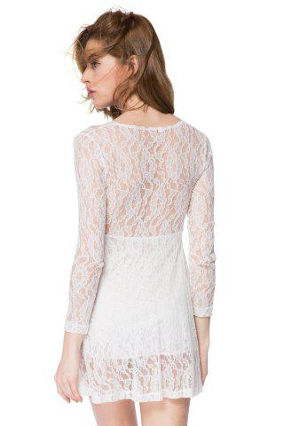 Outfits Lace Long Sleeve Plunge Sheer Mini Dress - L WHITE Mobile