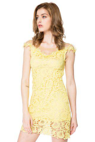 Sale Sexy Scoop Neck Short Sleeve Mesh Splicing Lace Dress For Women
