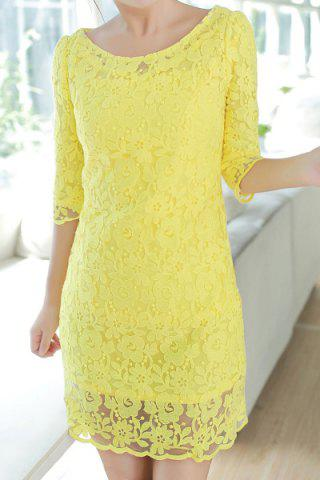 Unique Stylish Scoop Neck Lace Crochet Flower Half Sleeve Dress For Women
