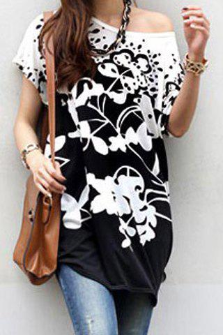 Shop Stylish Scoop Neck Short Sleeves Floral Print Loose T-Shirt For Women