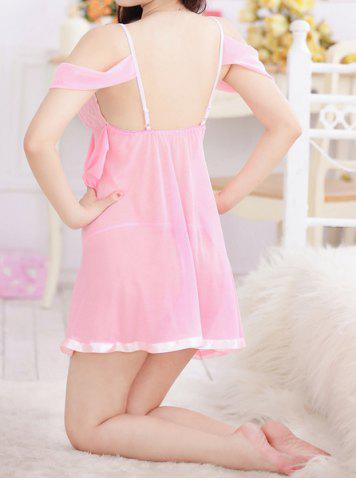 Affordable Sexy Sweetheart Neck Off-The-Shoulder See-Through Women's Babydoll - ONE SIZE(FIT SIZE XS TO M) PINK Mobile