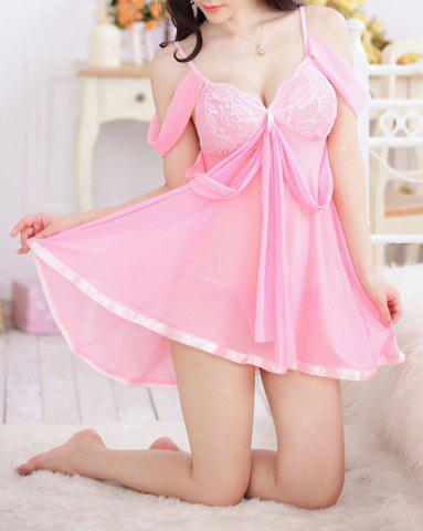 Latest Sexy Sweetheart Neck Off-The-Shoulder See-Through Women's Babydoll - ONE SIZE(FIT SIZE XS TO M) PINK Mobile