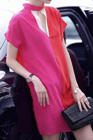 Affordable Vintage Keyhole Neck Short Sleeves Color Splicing Dress For Women
