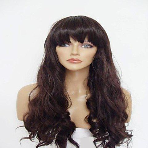 Cheap Vogue Full Bang Imported Heat-Resistant Fiber Long Wavy Brown Synthetic Wig For Women BROWN