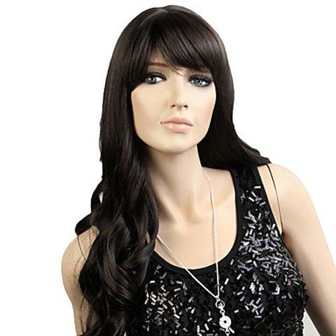 Outfits Stylish Long Wavy Natural Black Synthetic Wig With Side Bang For Women - BLACK  Mobile