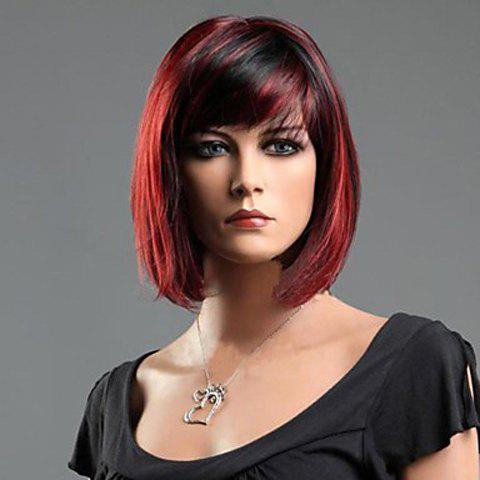 Charming Short Straight Synthetic Auburn Wig With Side Bang For Women - Colormix - S