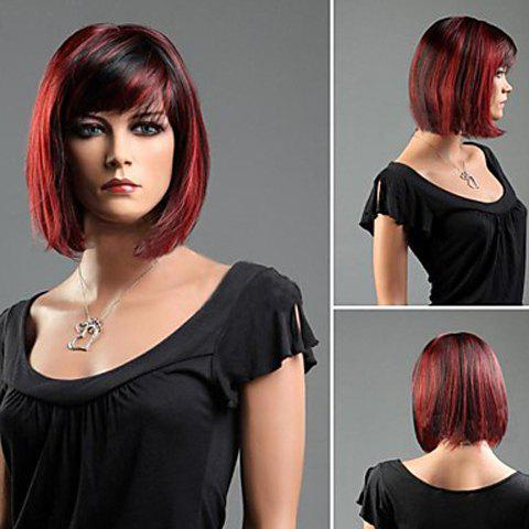 Outfits Charming Short Straight Synthetic Auburn Wig With Side Bang For Women - COLORMIX  Mobile