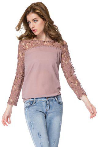 Cheap Solid Color Long Sleeve Round Collar Spliced Pullover Women's Blouse AS THE PICTURE S