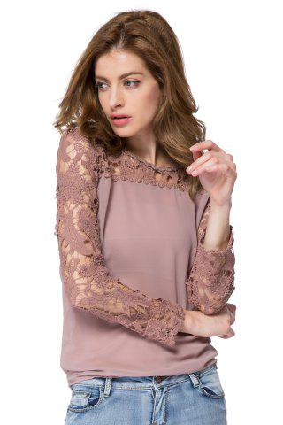 Latest Solid Color Long Sleeve Round Collar Spliced Pullover Women's Blouse - M AS THE PICTURE Mobile