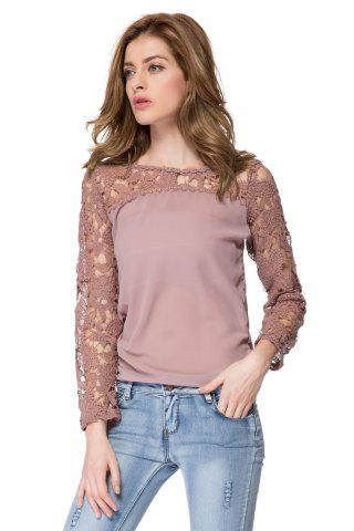 Chic Solid Color Long Sleeve Round Collar Spliced Pullover Women's Blouse - M AS THE PICTURE Mobile