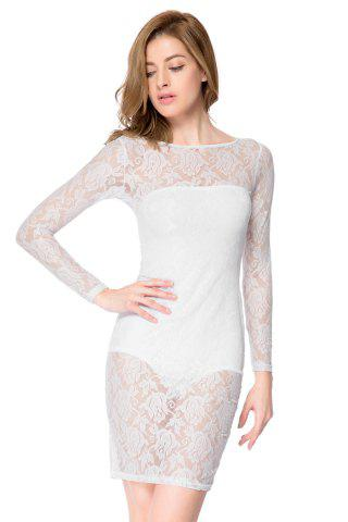 Discount Sexy Strapless Sleeveless Solid Color Inner + Lace See-Through Dress Women's Twinset WHITE S