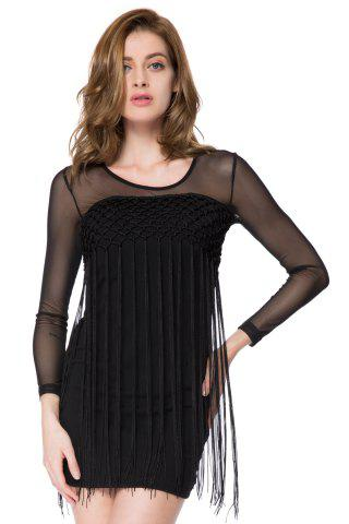 Best Vintage Jewel Neck Long Sleeves Fringe Solid Color Dress For Women