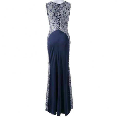 Chic Stylish Round Collar Floral Print Splicing Furcal Sleeveless Women's Maxi Dress - M COLORMIX Mobile