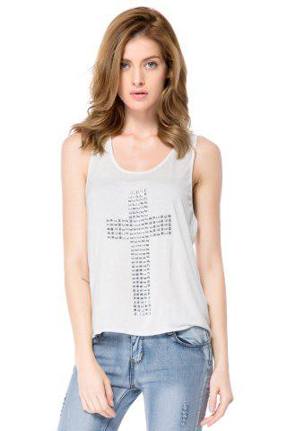 Best Women's Rhinestones Cross Hot Drill Racerback Low O-neck Slim Tanks