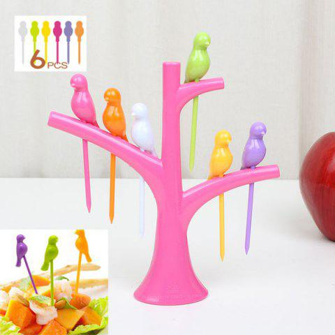 Fashion 6Pcs Creative Birds on Tree Fruit Fork Set with Holder Desk Decors PINK