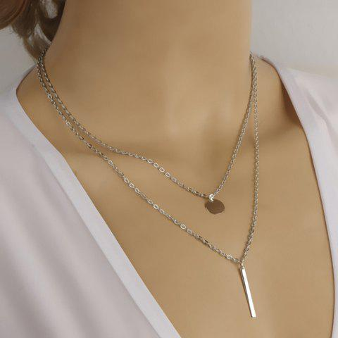 Chic Alloy Round Stick Pendant Necklace SILVER