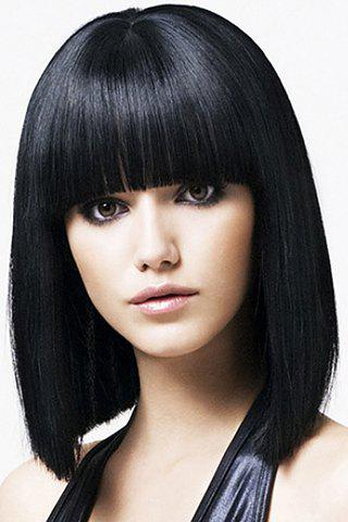 Sale Medium Straight Black Wave Synthetic Wig With Full Bang For Women