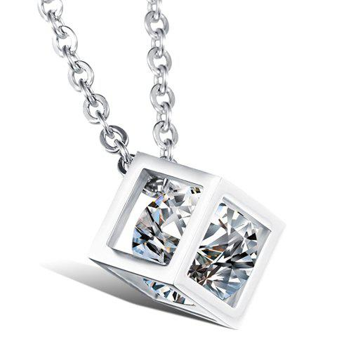 Store Rhinestone Square Shape Pendant Necklace - AS THE PICTURE  Mobile
