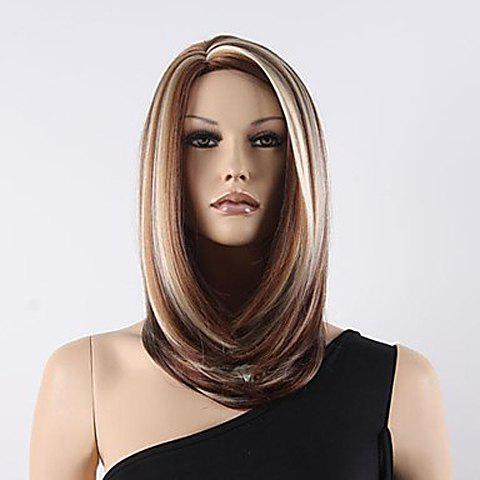 Shop Sparkle Mix Color Middle Length Straight Heat-Resistant Synthetic Wig For Women COLORMIX