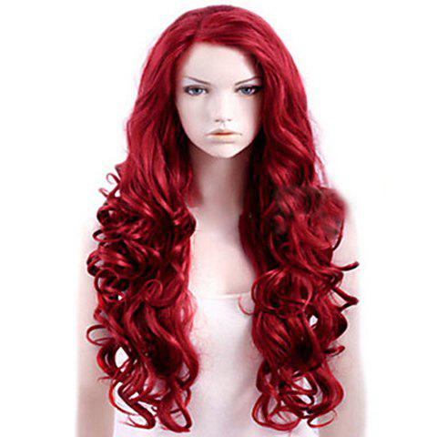 Affordable Attractive Side Bang Red Extra Long Deep Wave Synthetic Wig For Women