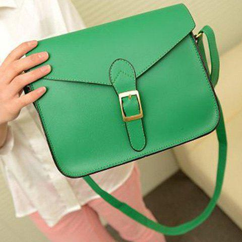 Trendy Retro Solid Color and Buckle Design Women's Crossbody Bag