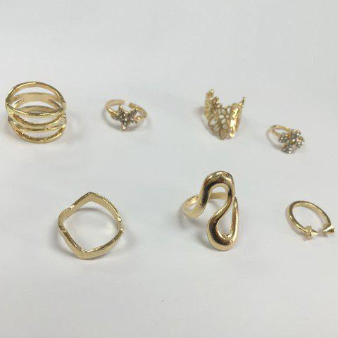 Store 7PCS Star Leaf Rings - ONE-SIZE GOLDEN Mobile