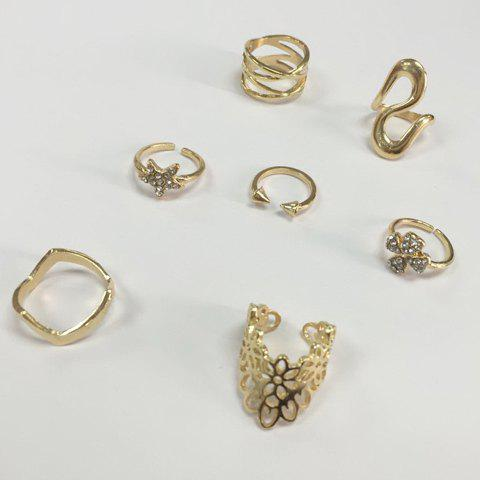 Cheap 7PCS Star Leaf Rings - ONE-SIZE GOLDEN Mobile