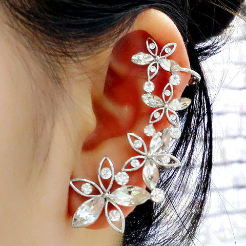 Sale ONE PIECE Hollow Out Faux Crystal Flower Ear Cuff SILVER