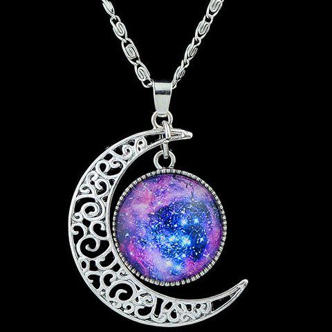 Chic Artificial Gem Moon Round Pendant Necklace - PURPLE  Mobile