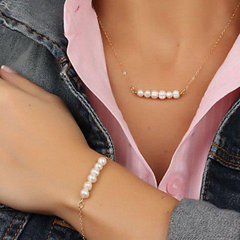 Outfit Stylish Faux Pearl Necklace And Bracelet For Women