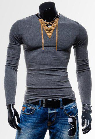 Outfit Laconic Personality Color Block V-Neck Slimming Long Sleeves Men's Cotton Blend T-Shirt