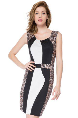 Affordable Color Block Leopard Mini Bodycon Dress LEOPARD S