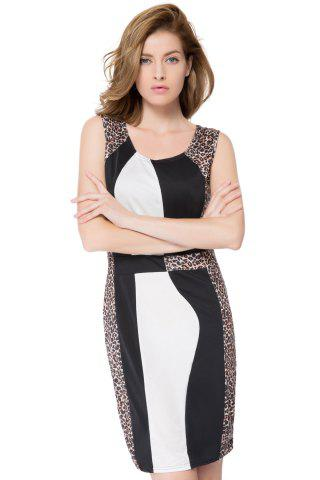 Color Block Leopard Vestido Mini Bodycon