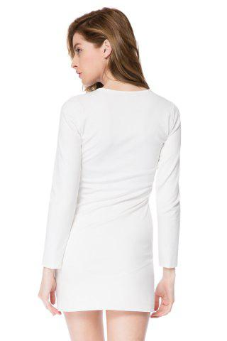 Outfit Short Button Long Sleeves Sheath Dress - M WHITE Mobile