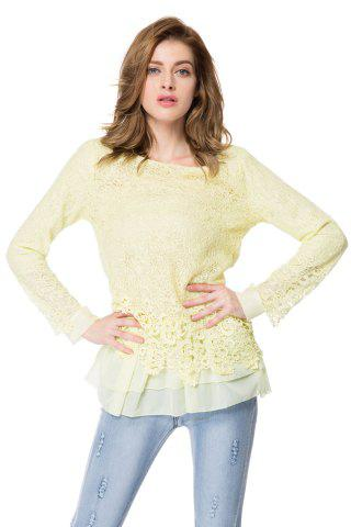 Latest Chic Round Collar Long Sleeve Lace Spliced Women's Blouse BEIGE S