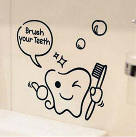 Discount Brush Your Teeth Style Wall Sticker Home Bathroom Decor Wall Decals