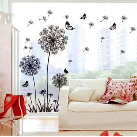 Outfits Black Dandelion Style Wall Sticker Home Appliances Decor Wall Decals - BLACK  Mobile