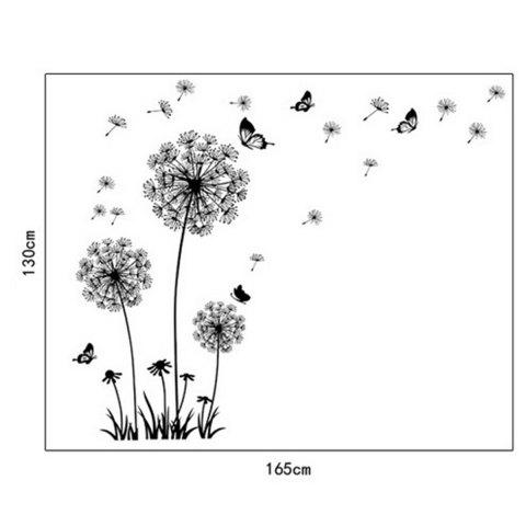 Shops Black Dandelion Style Wall Sticker Home Appliances Decor Wall Decals - BLACK  Mobile
