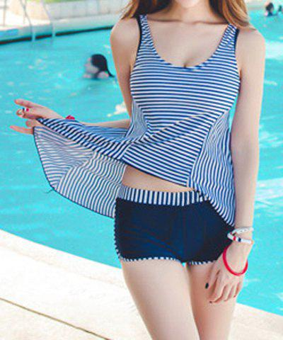 Fancy Stylish Scoop Neck Striped Tank Top + Elastic Waist Shorts Women's Twinset