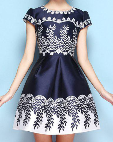 Shops Vintage Jewel Neck Print Short Sleeves Dress For Women