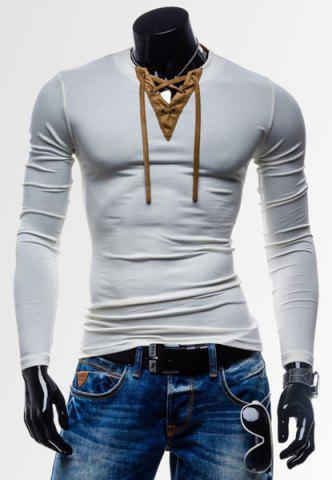 Laconic Personality Color Block V-Neck Slimming Long Sleeves Men's Cotton Blend T-Shirt - White - Xl