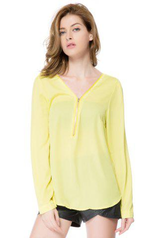 Hot Stylish V-Neck Long Sleeve Zipper Design Chiffon Solid Color Women's Blouse YELLOW 2XL