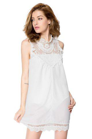 Hot Turtle Neck Sleeveless Lace Dress - S WHITE Mobile
