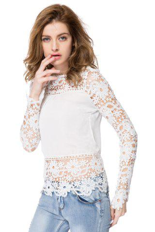 Outfits Stylish Round Neck Long Sleeve Spliced Hollow Out Women's Blouse WHITE S