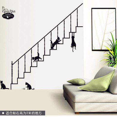 Chic Stairs and Kitty Style Wall Sticker Home Appliances Decor Wall Decals BLACK